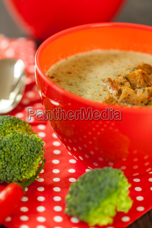soup bowl of broccoli soup with