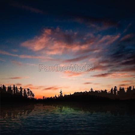 abstrakter sonnenuntergang mit waldsee und wolken