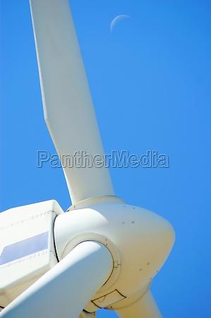 wind power turbine installation with blue