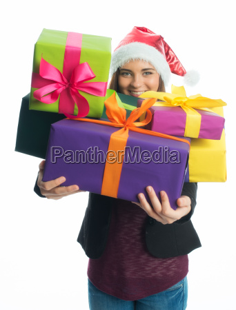 christmas girl holding gifts