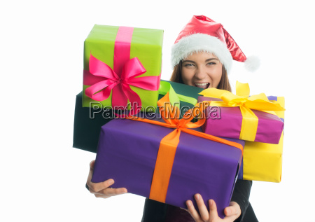 christmas girl holding gifts