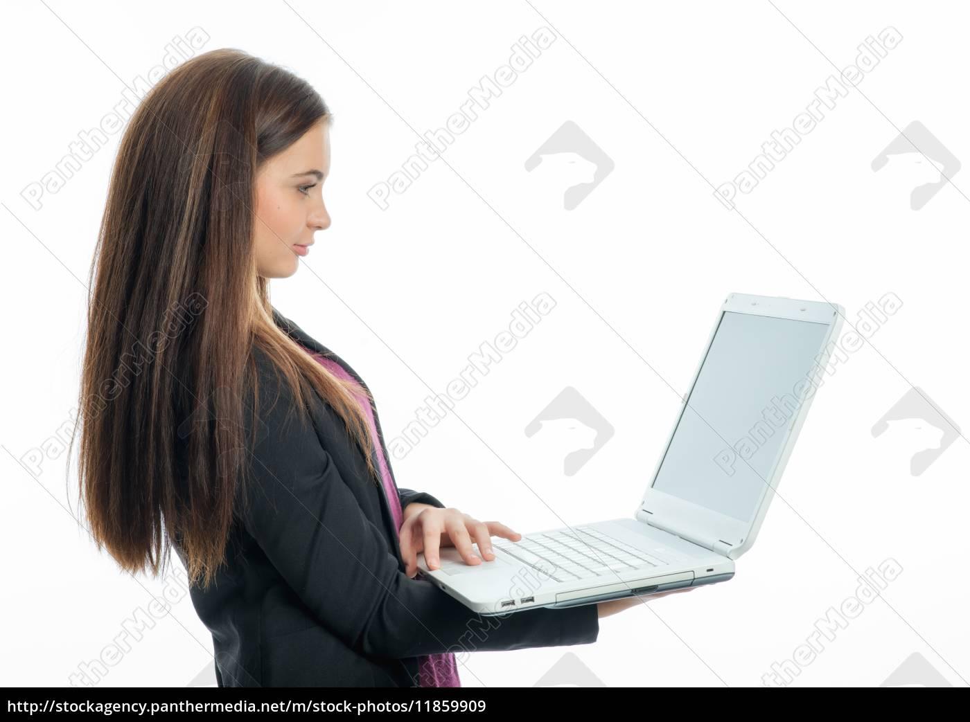 junges, mädchen, mit, laptop - 11859909