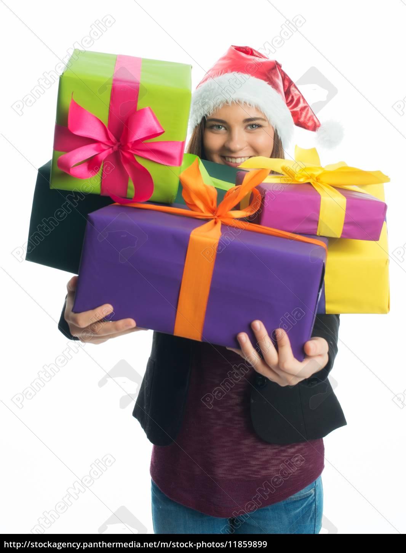 weihnachtsmädchen, hält, geschenke, - 11859899