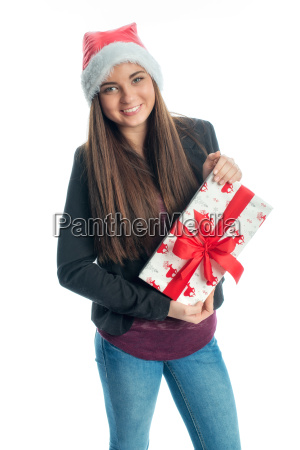 christmas girl with gift