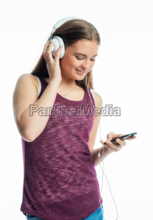 girl with mobile phone and headset