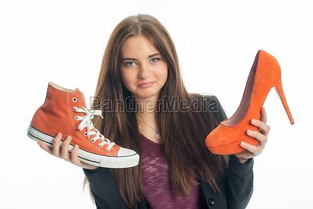 sneakers or high heels