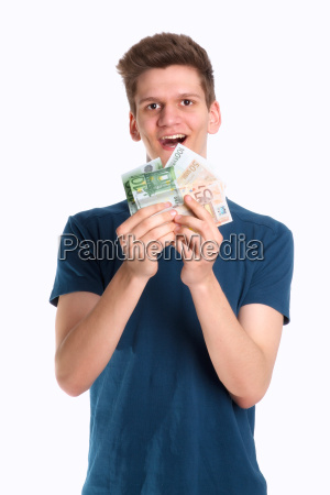 teenager holds many bills