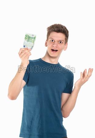 young man holding 100 euros