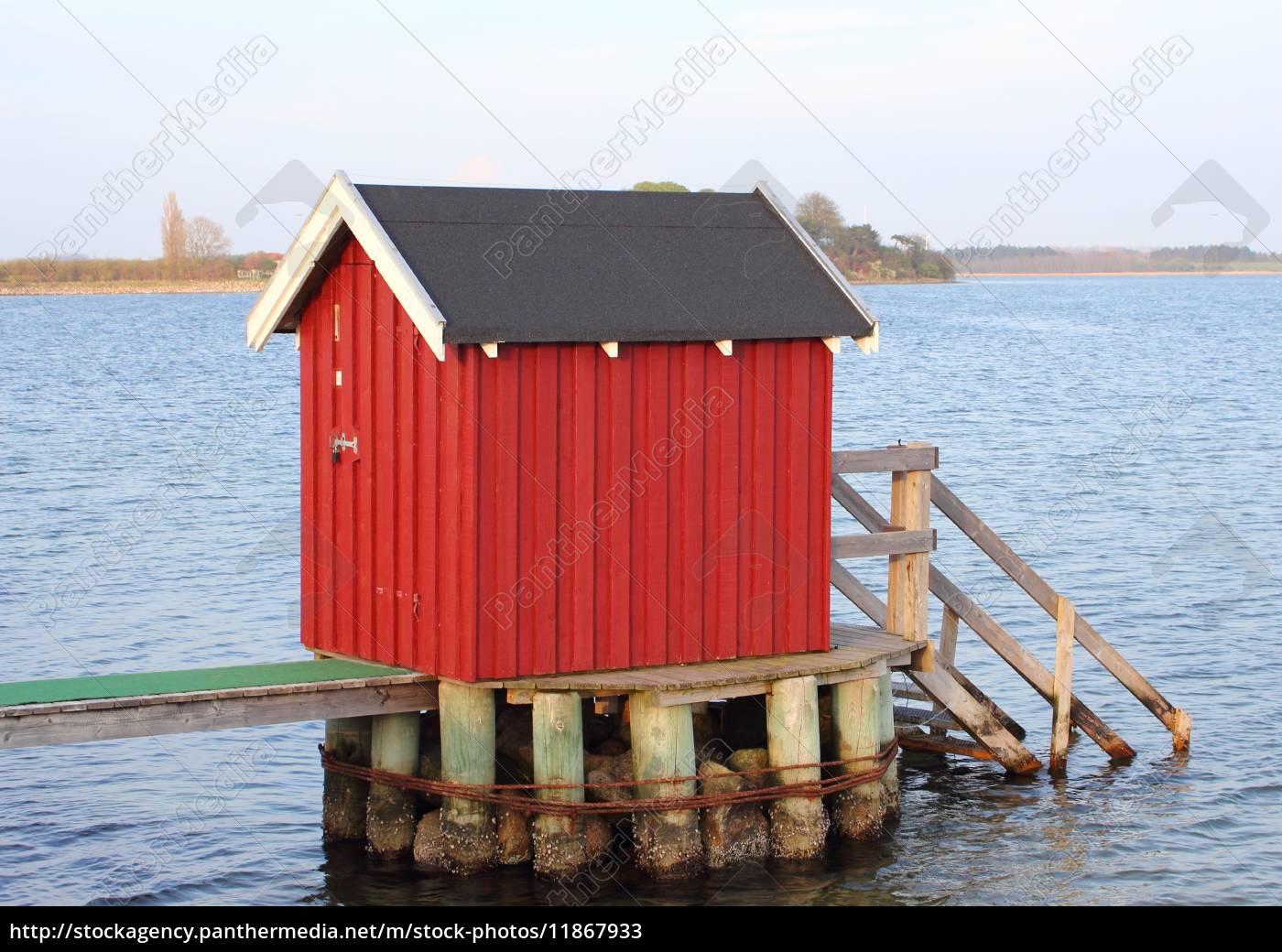 schwimmer, umkleidehaus, am, see, in, dänemark - 11867933