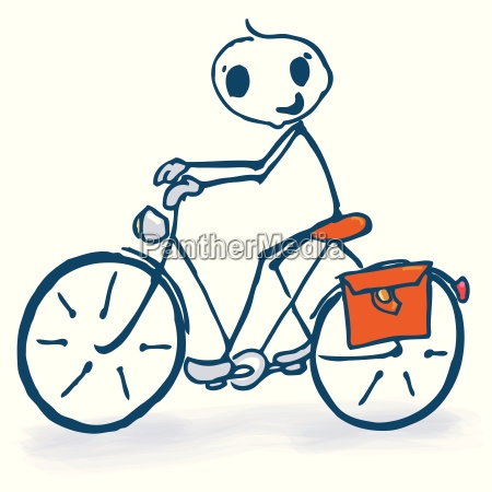 stick figure with bicycle
