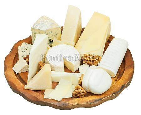 verschiedene, käse, teller, isoliert, auf, weiß - 11874681