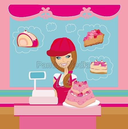 baeckerei schaufenberverkaeuferin serviert grossen rosa kuchen