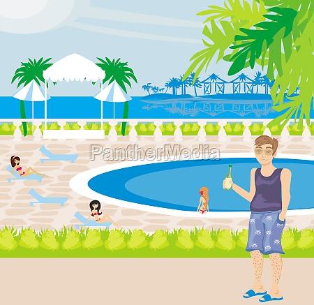 touristen am pool