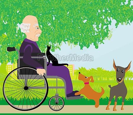 alter mann im rollstuhl und seine