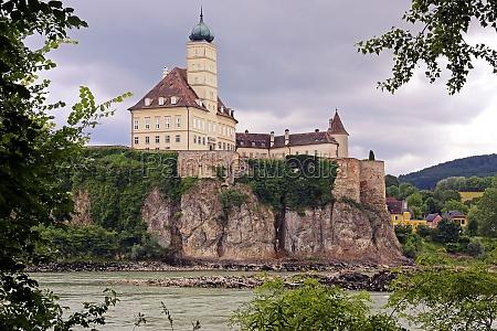 schoenbuehel castle on a cliff overlooking