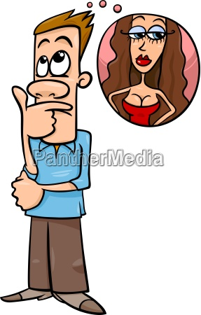 man think about woman cartoon