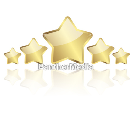 5 golden stars with reflection in