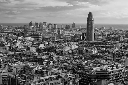 cityscape of barcelona black and white
