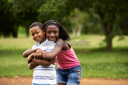 children african boy and girl in