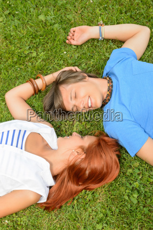 romantic love young couple lying on