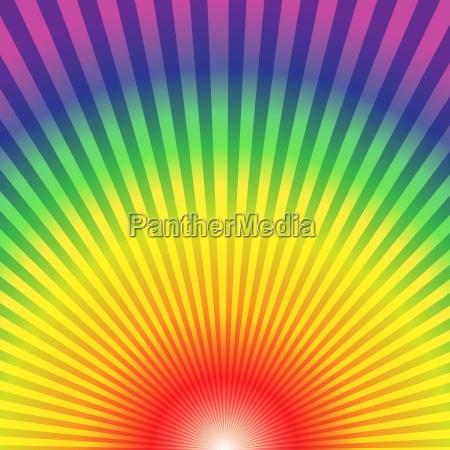 regenbogen radial strahlen unten bis abstrakten