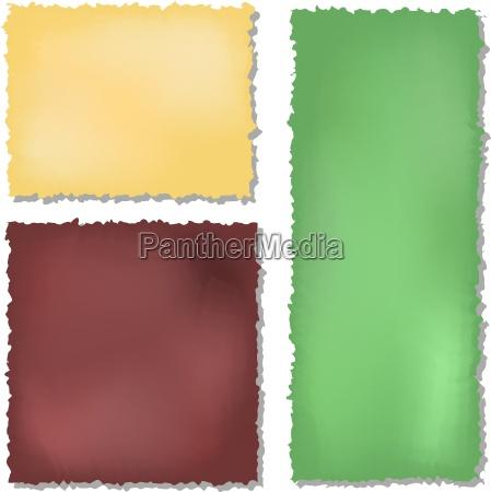 satz von farbe grunge papiere hintergrund