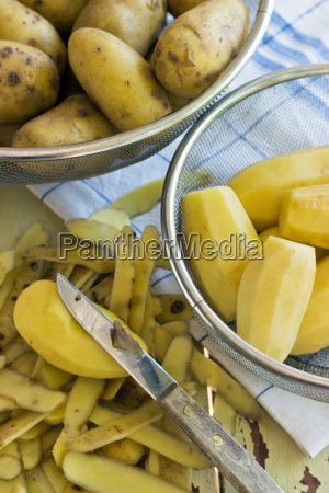 sieve yellow potatoes ingredients vegetable potato