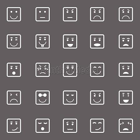 quadratische gesichts ikonen auf grauem hintergrund