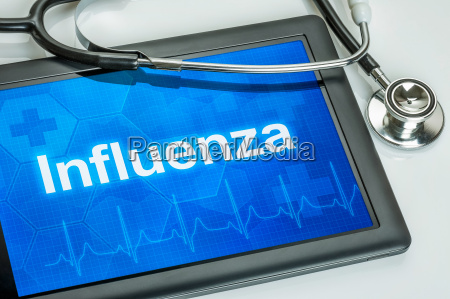 tablet diagnosed with influenza on display