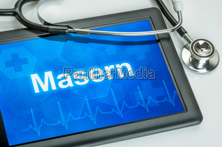 tablet with the diagnosis of measles
