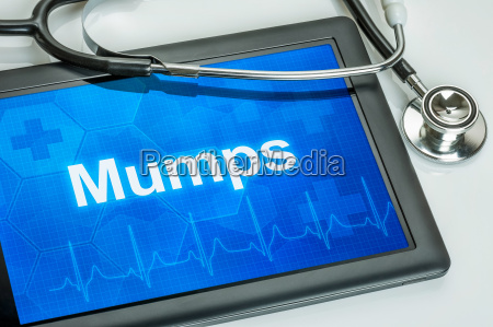 tablet with the diagnosis mumps on