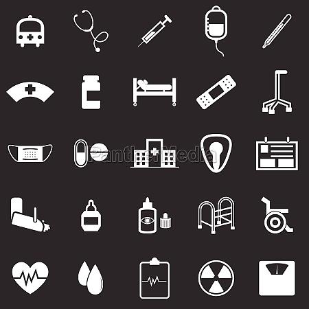 krankenhaus icons auf schwarzem hintergrund