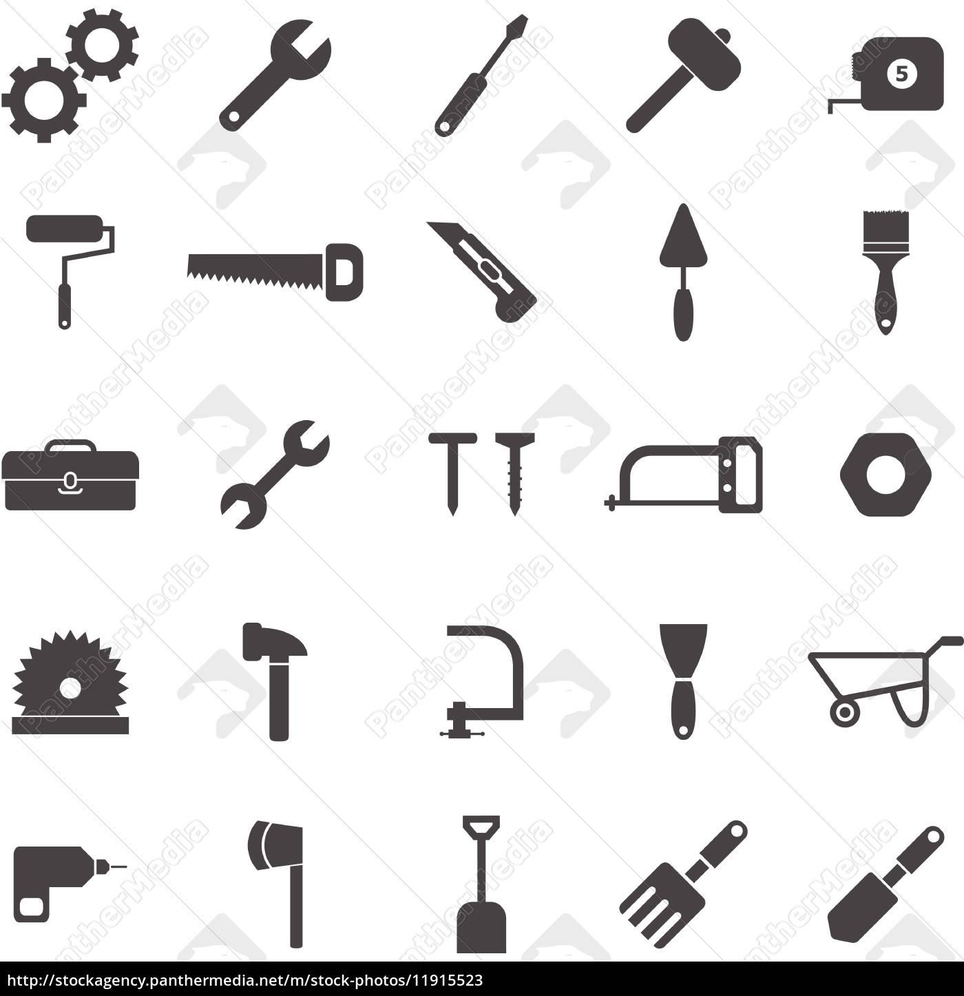 werkzeug symbole auf wei em hintergrund stockfoto 11915523 bildagentur panthermedia. Black Bedroom Furniture Sets. Home Design Ideas