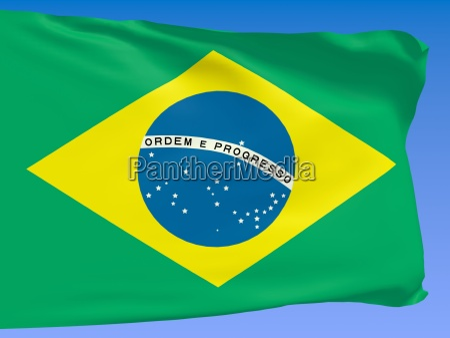 brasilien flagge ueber blauen himmel