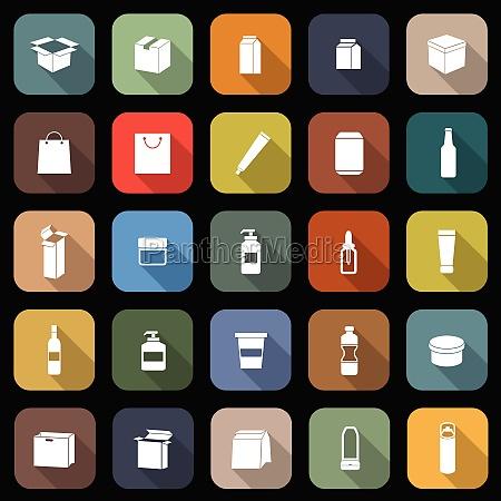 verpackung flache ikonen mit langen schatten