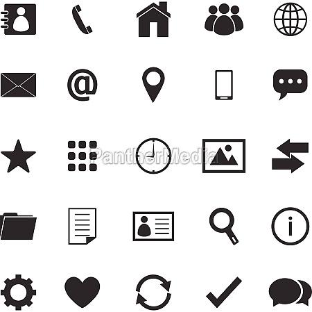 kontakt symbole auf weissem hintergrund