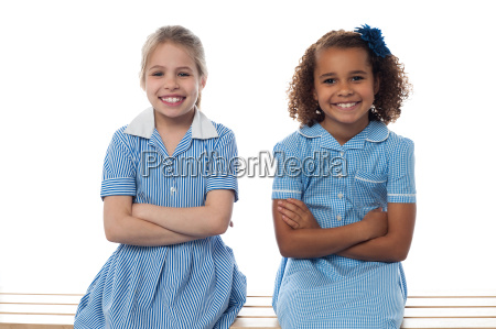 confident elementary school girls