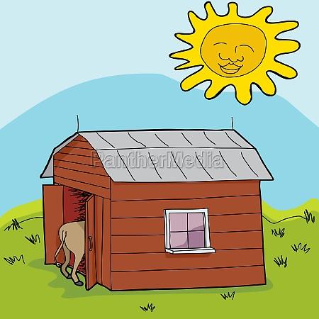 sun over small barn