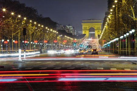 champs elysees at night paris