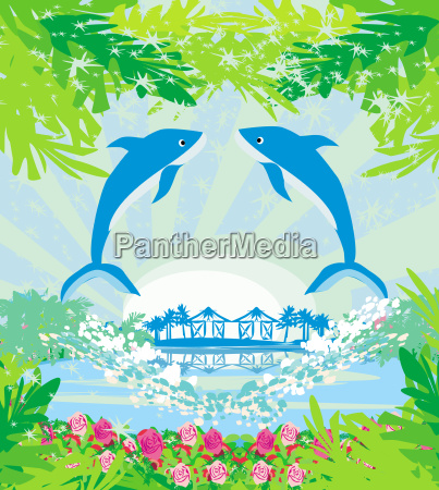 tropical island paradise with leaping dolphins