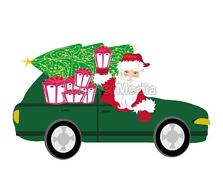 illustration von santa claus auto fahren