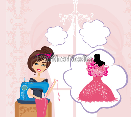 girl with sewing machine dreams of