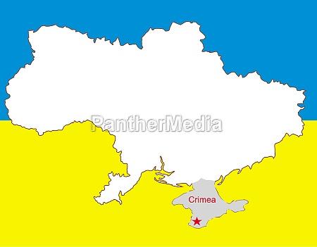 ukraine vektorkarte mit der halbinsel krim