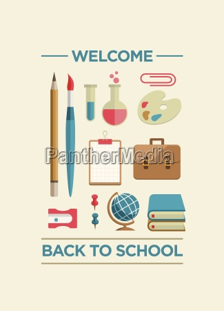 education and school supplies icon set
