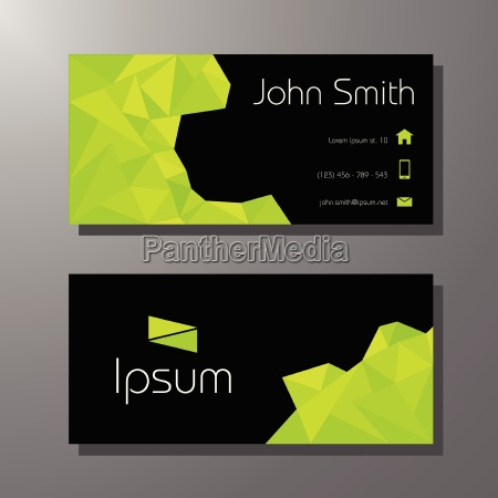 business card template green and