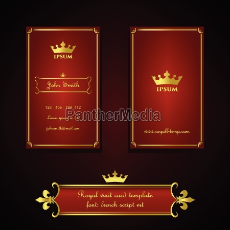 visitenkarteschablone in der koeniglichen rot und