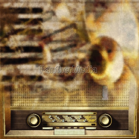 abstract background with retro radio and