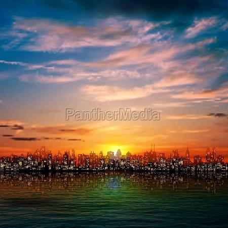 stadt nacht nachtzeit sonnenuntergang sonnenaufgang abendrot