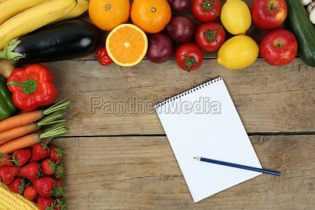 einkaufszettel mit obst und gemuese