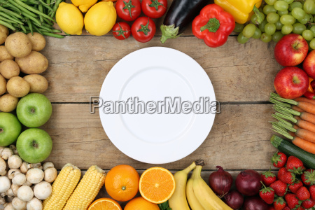 vegetables and fruits with an empty